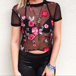 Mesh top with floral embroidery!
